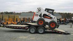 Kaufman fixed-front tilt equipment trailer hauls a Bobcat Skid Steer Landscape Trailers, Bobcat Skid Steer, Equipment Trailers, Toy Hauler, Shipping Container Homes, Mechanical Engineering, Lifted Trucks, Tilt, Welding