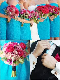 I love the roses in the bouquet and the teal lace for the bridesmaids.