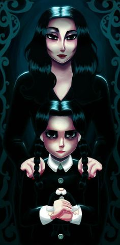 Wednesday and Morticia