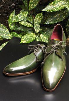 Paul Parkman Men's Green Hand-Painted Leather Derby Shoes