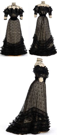 Black lace over white silk dress, ca. 1904-06. Attributed to dressmaker Madame Rose H. Boyd, Minneapolis, MN. Minnesota Historical Society