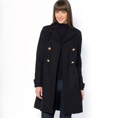 Double-Breasted Wool Pea Coat with Gold Buttons
