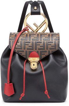 ebd6f7630310 Fendi Logo Print Backpack in Black   Brown