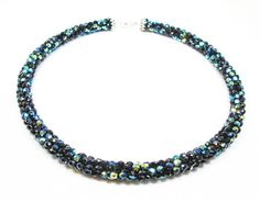 Black and Aqua Kumihimo Necklace by kiddercreations on Etsy