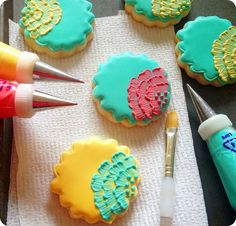 brush embroidery cookie tutorial ::: bake at 350 blog (I LOVE the bright colors together. Especially the turquoise on yellow)