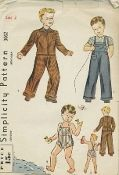 An unused original ca. 1930's Simplicity Pattern 3062.  This cunning outfit will delight any little boy. Jacket is pleated and belted at back, closes with a slide fastener at front; sleeves are long. A patch pocket is shown. Overalls and sun suit have a square bib at front; straps cross at back. Overalls are braid trimmed.