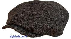 Herringbone Tweed Dark Grey Men s News boy Baker Boy Hat 8 Panel Wool Blend
