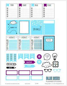 FREE Blue Skies Planner Stickers | Free printable download by Vintage Glam Studio