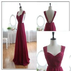 Backless Bridesmaid Gown,Burgundy Prom Dress,Chiffon Prom Gown,Simple Bridesmaid Dress,Evening Dresses,Wine Red Bridesmaid Dresses,Straps Bridesmaid Gown For Weddings