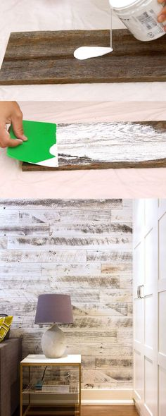 Voici une excellente façon d'ajouter une touche féminine au bois de grange. Le look blanchit rend aussi la pièce plus paisible et sereine.   ///  Ultimate guide + video tutorials on how to whitewash wood & create beautiful whitewashed floors, walls and furniture using pine, pallet or reclaimed wood. | apieceofrainbow.com