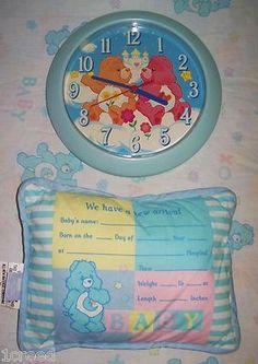 Care Bears Blue Sweet Dreams Sleepy Time Baby Nursery Wall Clock & Birth Pillow Set  $31.30 on sale - So Cute!