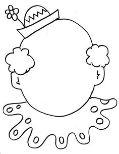 Clown Coloring Pages Circus clown face coloring sheet Circus Art, Circus Clown, Circus Theme, Colouring Pages, Coloring Sheets, Coloring Books, Circus Activities, Craft Activities, Circus Crafts Preschool