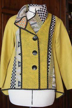 Marcy Tilton pattern - kantha cloth, wool felt and linen