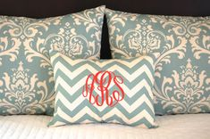 Pillow Shams Village Blue Bedding Decorative Throw Pillow Covers Standard Full Queen Bedding 19 x 25 Includes Monogrammed Pillow Cover on Etsy, $79.00