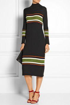 Suno   Striped wool-blend turtleneck midi dress   NET-A-PORTER.COM