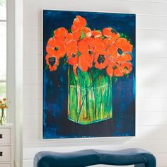 You know how fantastic it looks to have a bold piece of art centering a room over a fireplace or a beautiful console table (love it in an entrance hall),    or even the master bed. So you know how exciting it is to find a piece like Still Life with Flowers. This artwork is a print on canvas that makes a modern    impact. Dramatic dark blues, bright oranges, and clean greens give this work its vibrant personality. Stunning with neutral to jewel-tone d, and    pure energy against a plain wh...