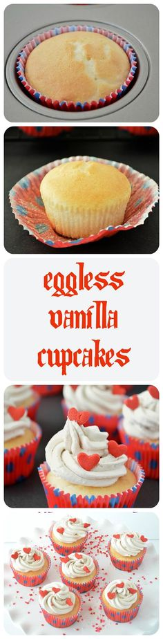 Eggless Cupcakes Prepared with cake flour and topped with a basic powdered sugar and cream cheese frosting.
