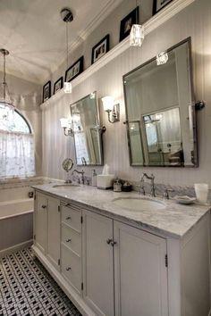 Bathroom Mirror Ideas - Cottage Master Bathroom with Carnegie Hill Single Bath Light - Brushed Nickel, Prague Rectangular Tilting Mirror, Carpet Farmhouse Bathroom Mirrors, Large Bathroom Mirrors, Bathroom Mirror Makeover, Rustic Bathrooms, White Bathroom, Small Bathroom, Master Bathroom, Bathroom Ideas, Bath Ideas
