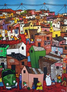 Cape Township African Paintings, African Art, Mural Ideas, Art Ideas, West Africa, South Africa, Landscape Photography, Art Photography, Garden Mural