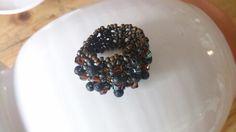"""Ring """" Lava Bubbles"""". Lava-Perlen, Bicone und Rocs."""