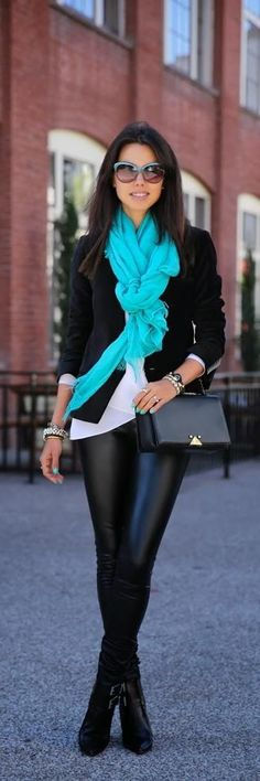 Cute Fall Fashion. Black leather pants and jacket with turquoise scarf. Love the scarf!