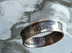 West Virginia State Quarter coin ring. made to order sizes 4.5 to 14 via Etsy
