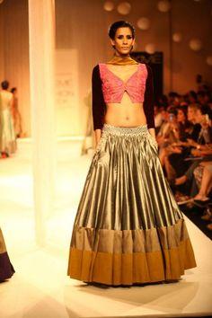 Lakme Winter 2013 Manish Malhotra lehnga with short cutout blouse