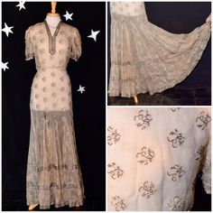 Vintage 1930s Art Deco Old Hollywood Sheer Beaded Formal Evening Gown - Size Small