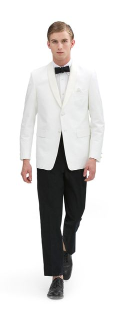 A Seersucker Shawl Collar Jacket by Thom Browne for BlackFleece (BrooksBrothers) is perfect for a Summertime evening wedding and dinner at the club.