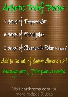 5 drops of Peppermint essential oil. 4 drops of Eucalyptus essential oil. 3 drops of Chamomile Blue (German) essential oil. Add to 30 mL ounce) of Sweet Almond Carrier Oil. Massage onto joint pain as needed. Essential Oils For Pain, Essential Oil Diffuser Blends, Doterra Essential Oils, Young Living Essential Oils, Arthritis Relief, Pain Relief, Arthritis Symptoms, Aromatherapy, Lotions