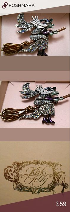 """Kirks Folly Season of the Witch Pin Brooch Cast a spell of Halloween magic with this dazzling piece by Kirks Folly.  Hand enameled and adorned with crystals, pictures do it no justice. 3"""" wide,  2"""" high New in box Jewelry Brooches"""