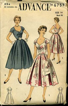 Advance 6757 MISSES' DRESS: Sleeveless, fitted bodice with pointed neckline in front has gathered shoulder drapes forming a square neckline in back. Six wide unpressed box pleats have (VIEW 1) contrast fabric inserts between each pleat. (VIEW 2) All one fabric, side zipper closing. Vintage Pattern