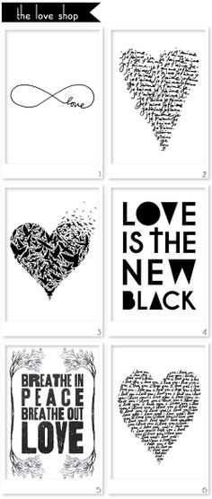 Black and white prints by The Love Shop (top right-hand corner)... #projectlife