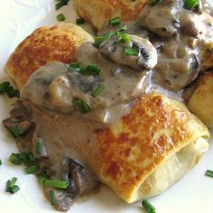 Russian crepes with chicken and mushrooms makes a great appetizer or main course.: Russian Chicken and Mushroom Blinchiki