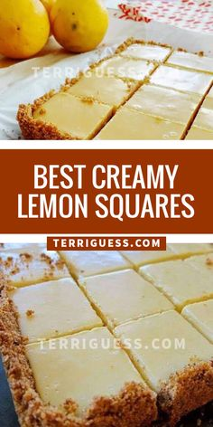 These are a perfect summer dessert ! I even used low-fat graham crackers and fat free condensed milk and they were still so delicious ! These were super easy and really tasty! desserts for potluck Best Creamy Lemon Squares Lemon Desserts, Lemon Recipes, Summer Desserts, Easy Desserts, Sweet Recipes, Delicious Desserts, Dessert Recipes, Yummy Food, Tasty
