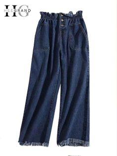 d62cf8d27b3 HEE GRAND 2018 Plus Size 5XL Tassel Women Jeans Elastic High Waist Wide Leg  Denim Mom