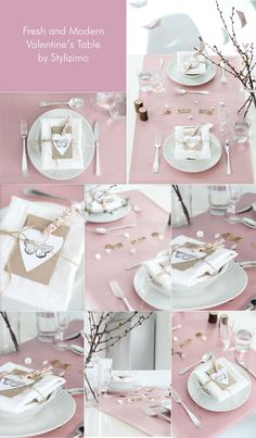 Minimalist table setting for Valentine's bridal shower party - by Stylizimo