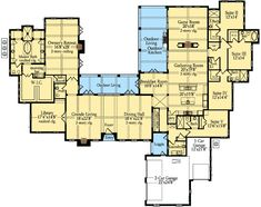 Grande Living = Study / Library.  Library = Exercise Room / switch P.Bath & Safe Room to other side of the Hall so P.Bath = Powder / Pool Bath (hallway from Master to Exercise Room & Study).  Laundry = Mud Room; Backhall Bath = 1/2 Bath only. Suite V = Laundry & Hobby / Art Studio w/ large double utility sink. Extend Suite IV, Enlarge Jack & Jill Bath w/ Suite Suite III and access from kitchen to Suites III & IV. Delete Suite II.  Reduce Game Room size = Music Room.