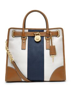 MICHAEL Michael Kors  Large Hamilton Striped Canvas Tote $328. LOVE for California!!! Looks like summer all in one bag!