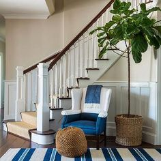 Chair Below Curved Staircase, Cottage, Entrance/foyer
