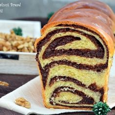 Cozonac cu nuca si cacao TRADITIONAL ROMANIAN DESSERT. IT IS A YEAST CAKE WITH NUTS AND COCOA