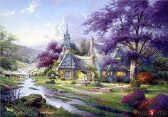 "Jigsaw Puzzles 500 Pieces ""Clocktower Cottage"" / Thomas Kinkade....many happy hours spent with my mama and a Thomas Kinkade puzzle :)"