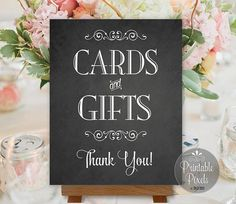 Cards and Gifts Sign Chalkboard Printable by PrintablePixels