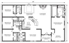 Love this floor plan. Probably flip master so bathroom at front ranch house floor plans 4 bedroom Love this simple, no watered space plan - add a wraparound porch, garage with additional storage room and it would be perfect! by proteamundi Floor Plan 4 Bedroom, 4 Bedroom House Plans, Basement House Plans, Barn House Plans, Dream House Plans, House Floor Plans, Simple Floor Plans, 40x60 House Plans