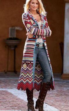 Crochet Granny Square and Chevron Stitch Full Length Autumn/Winter Long Coat,Crochet coat,sweater,cardigan hand crafted,long sweater - Crocheting - Cardigan Au Crochet, Gilet Crochet, Black Crochet Dress, Crochet Coat, Crochet Clothes, Crochet Sweaters, Crochet Dresses, Crochet Cardigan Pattern Free Women, Crochet Jacket Pattern