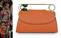 Carrie Diaries episode 3: Larissa's (Freema Agyeman) Orange Safety Pin Clutch by Bodhi Bags #getthelook #carriediaries