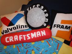 Garage theme pillows for Joey's room.  My mom created them from my vision.  Thanks Mom!