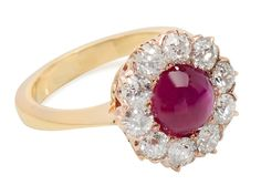 Art Deco Ruby Diamond Halo Ring - The Three Graces