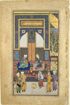 The Bustan of Sa'di, completed in 1257, combines moral advice with illustrative anecdotes.  The manuscript to which this painting belongs was likely copied in Herat, but it was illustrated for an Uzbek patron several years later, probably in Bukhara in the 1530s