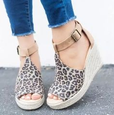 US$ 40.89 - Summer Platform Sandals 2020 Fashion Women Sandal Wedges Shoes Casual Woman Peep Toe Platform Sandals Women Causal Shoes - www.joymanmall.com New Chic Shoes, Shoes Style, Frauen In High Heels, Leopard Wedges, Super High Heels, Peep Toe Platform, Clearance Shoes, Prom Shoes, Buy Shoes